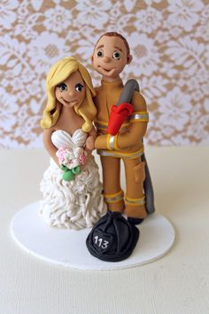 Firefighter Wedding Cake Toppers   Fully by CherryRedToppers, $165.00