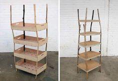 wood bookshelf, wood bookshelv, bent wood