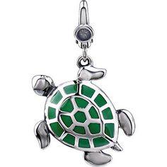 Enamel Turtle Charm in sterling silver. To find a retailer near you, visit stuller.com/locateajeweler      #emeraldgreen #coloroftheyear