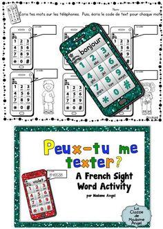 Peux-tu me texter?  A French Sight Word Game.  Voici un jeu pour les mots outils!