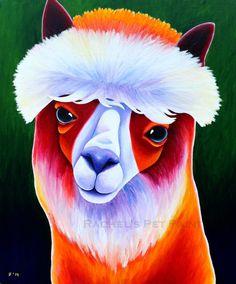 Alpaca Art  8x10 or 11x14 Fine Art Print of by rachelspetpaintings, $30.00