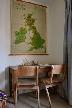 Vintage map, desk & chairs