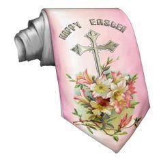 Golden Cross and Easter Flowers Custom Ties