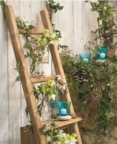 I have a ladder shelf. Next year in my classroom im doin a potted plant garden and we will have a pet fish. Totally taking the shelf to work! This inspired me..