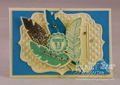 Stampin' Up! Four Feathers gift card holder with the Gift Card Envelope & Trims Thinlits Die. Debbie Henderson, Debbie's Designs.