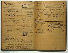 "Marie Curie's notebook. ""Because of their levels of radioactivity, her papers from the 1890s are considered too dangerous to handle. Even her cookbook is highly radioactive. Her papers are kept in lead-lined boxes, and those who wish to consult them must wear protective clothing."" (Quoted from Wikipedia.)"