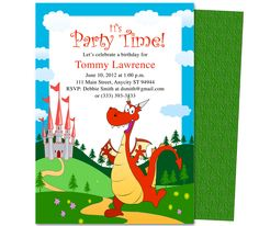 Kids Party : Pete the Friendly Dragon Kids Birthday Party Invitation Template
