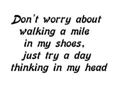 Don't worry about walking a mile in my shoes, just try a day thinking in my head.