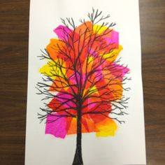 tissue paper. sharpies. Bam. Colorful and cute. And could be used as seasonal series of tree changes.something like a contained gelli print, and an offset tree stamp, both in square shapes but offset