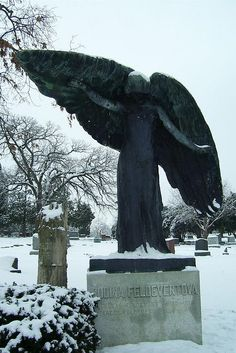 Iowa City, IA - The Black Angel of Iowa City at Oakland Cemetery
