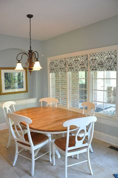 Like these windows, and homemade faux roman shades