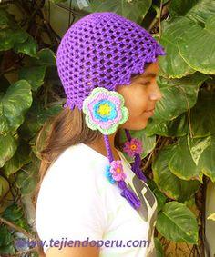 Tutorial: gorro en punto malla con flores (orejeras) tejido a crochet!