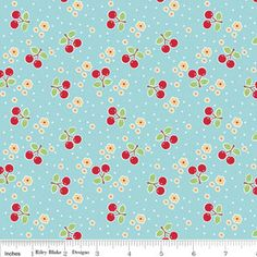 Cherry in Blue Bake Sale Cottons Riley Blake by chitchatfabrics, $8.50