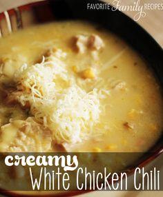 creami white, chicken recipes, crock pots, white chicken chili, chilis, crock pot chicken, chili recipes, family recipes, white chili