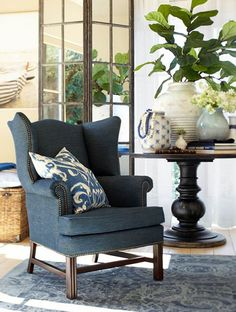 Loving this muted blue and white combo…plus those subtle pops of texture and pattern.