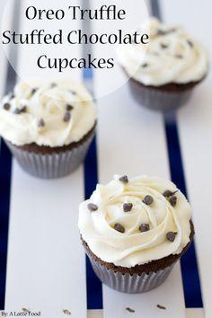 Oreo Truffle Stuffed Chocolate Cupcakes