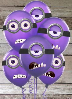 Despicable me Purple Minion Goggles and Mouths Printable Birthday Party Sticker for Balloons Decorations & Iron On Transfer Tshirt