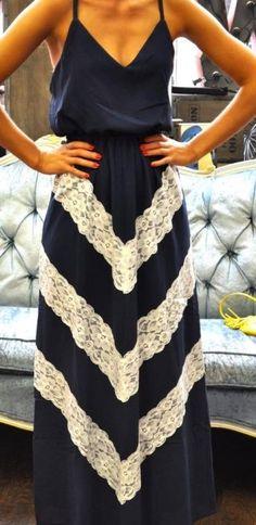 Navy Lace Chevron Sleeveless Maxi Dress