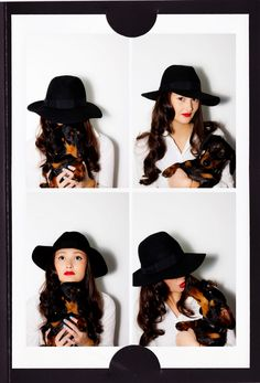 big hat, long waves & a red lip - Peony Lim loves hats