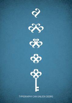 typography can unlock doors #blue #white #type #keys