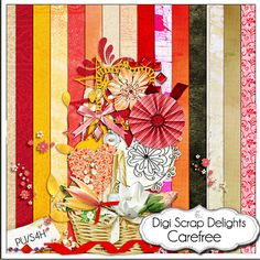 Carefree Digital Scrapbook Kit by DigiScrapDelights on Etsy,