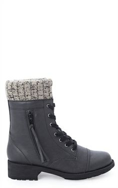 Deb Shops Lace Up #Combat #Boot with #Sweater Cuff $28.63