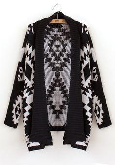 Black Geometric Normal Bat Sleeve Knit Trench Coat