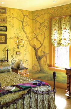 Tree Mural Bedroom, Newport, Kentucky I love the bed, the sconce and the crazy quilt...I love it all except those pot lights in the ceiling!