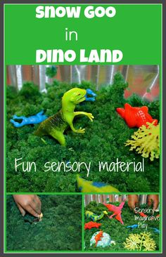 Sensory play to small world play. Make green goo with snow and turn it in to a dinosaur world.