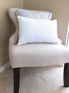 Use pillows that come with a comforter set to decorate other spaces in your bedroom, like this side chair and pillow set from #HomeGoods #HomeGoodsHappy #Sponsored
