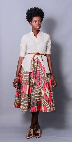 Holland Wax Cotton Midi Skirt