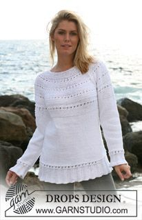 "DROPS jumper in ""Paris"" with rib and lace pattern. Sizes: S - XXXL ~ DROPS Design"