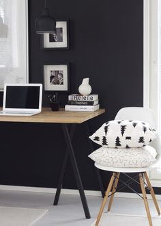 office spaces, interior, minimal office, desk, home offices, bureau, black wall, workspac