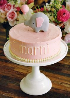 #pink #elephant #baby #shower #cake