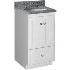 18 in. Shaker Door Style Vanity Cabinet Only in Satin White-01.204.2 at The Home Depot