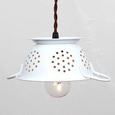 Mini Kitchen Colander Pendant Light  White Enamel by FleaMarketRx, $82.00