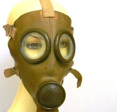 Italian T 35 Gas Mask  WWII era by Mylittlethriftstore on Etsy, $50.00