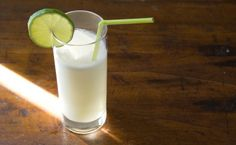 Summer cocktail: rum, coconut, lime and ginger.