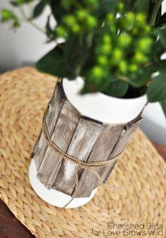 rustic wood shim glass vases-