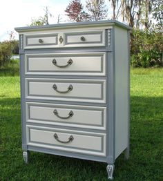 Shabby Chic Dresser, Painted Furniture, Gray and White, French Provincial Style.