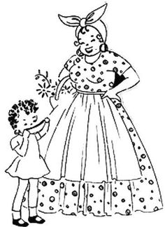 Mother and Child Embroidery Pattern