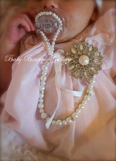 Blinged up baby! Gorgeous Baby Boutique 4-in-1 Beaded Pacifier Holder - Made with Swarovski Crystals Spacers