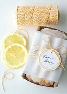 love the yellow and white striped baker's twine wrapped around the mini lemon loaves