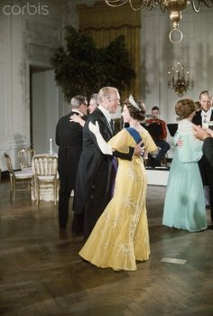 President Gerald Ford dances with Queen Elizabeth II at State Dinner at the White House in July 1976.