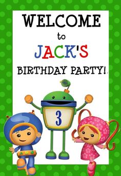 Team Umizoomi Birthday Party Door Sign Digital by DazzelPrintz $7.00
