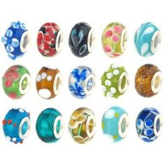 #5: 50pc Lot Lampwork Murano Glass European Mix Beads - Compatible with Pandora, Chamilia, Troll, Biagi