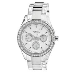 Fossil Women's ES2821 Combination stainless steel with translucent plastic case and bracelet White satin dial Watch $53.03