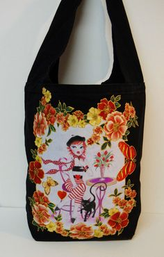 Paris Lovers Custom Canvas #Tote #Fantasy Hand Painted #Fabric #Applique by paulagsell, $65.00