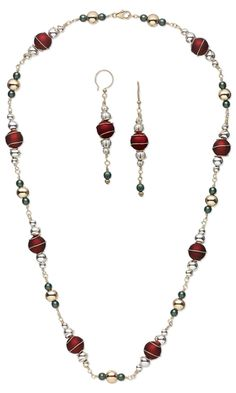 Single-Strand Necklace and Earring Set with Rubberized Acrylic Beads, Metal Beads, Czech Pressed Glass Beads and Wire Wrap by Rose Wingenbach.