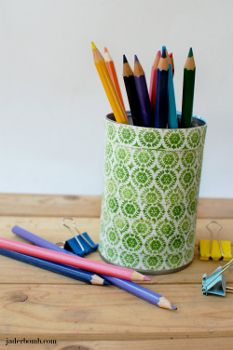 Tin Can Pencil Organizers using @Sarah Plue Corporation of America products from @Conni Dorin Bomb